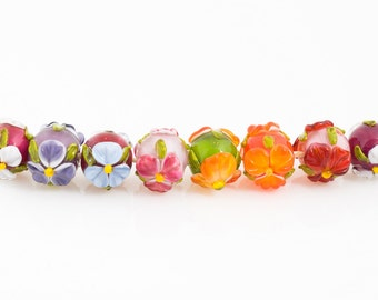 MTO - 1 (one) Handmade lampwork rised flower beads/ Craft supplies / Beading / lampwork / glass / bead / pansy