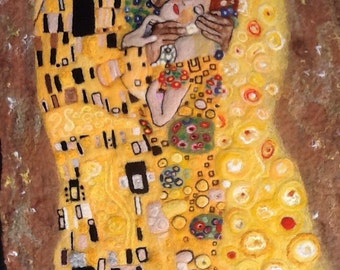 The Kiss of Klimt,wet and needle felted picture