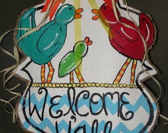 Welcome Y'all birds doorhanger
