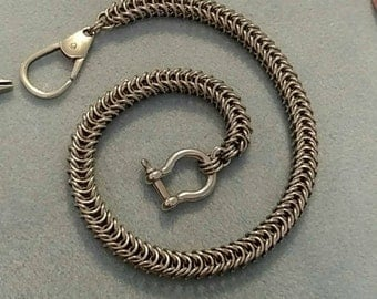 Stainless steel wallet chain.