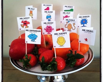Set of 12 Childrens Mr Men Book Cover Cup Cake Flags