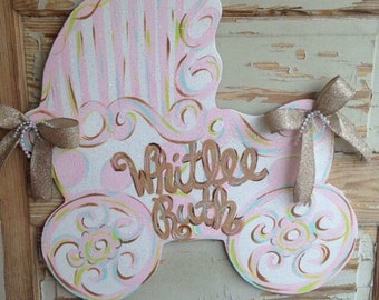 Baby Carriage Hospital Birth Announcement Door Hanger