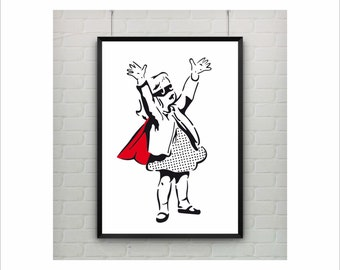 Super Girl by Banksy Print / Abstract / Graffiti Art / US Letter - A4 up to A0 size / Minimalist Art / Wall Art / Girls Kids Room Decor