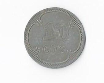 WWII Prisoner of War 10 Centimes Token