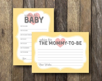 Yellow Baby Shower Printables - Baby Wishes Mommy Advice - Yellow Baby Shower - Wishes For Baby - Yellow Baby Shower Games - Mommy Advice
