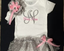 Newborn Baby Girl Photo Oufit Monogrammed Body Suit with Attached Lace Ruffle TuTu Skirt. Matching Headband and Sidebow. 0-18 Months
