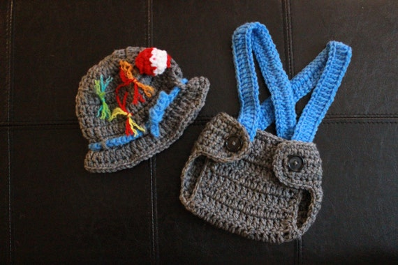 Baby boy fisherman crochet outfit hat gone fishing hat for Baby fishing outfit