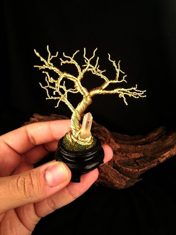 Twisted Wire Moyogi Bonsai Tree Sculpture with real Quartz Crystal