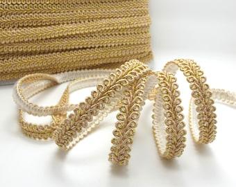 3 Yards 3/8 Inch Rose Gold Glittery Gimp Braided Trim|6 Colors|French Gimp Braided|Scroll Braid Trim|Decorative Embellishment Trim|