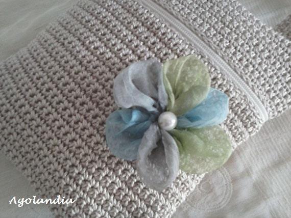 Purse Crochet and Silk Handbag Handmade Shoulder by Agolandia