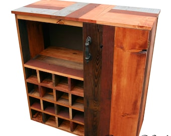 Beautiful... Reclaimed Rustic Mixed Barn Wood Wine Storage Cabinet rack With Glass Holder With Cupboard,Shelf TV Stand And Much More.
