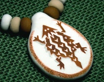 HORNY TOAD Lizard Handmade Southwestern Native American Style Clay Pendant Necklace & Beads