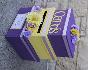 Custom Wedding Card Box, 3 Tier, Card Holder, Square, Purple and Yellow, Gerbera Daisy, Wedding Decor