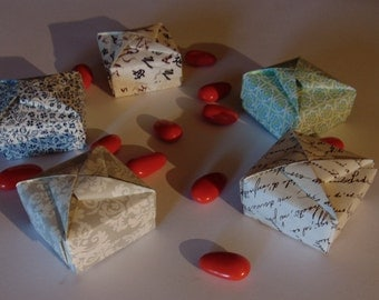 Set 5 boxes origami holder, bijoux, for parties and events