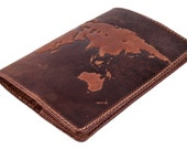 "Handmade Premium leather passport cover case ""World Map 3D Print"" International format, 133*192 mm. FREE USA SHIPPING!"