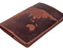 "Handmade Premium leather passport cover case ""World Map 3D Print"" International format, 133*192 mm. FREE USA SHIPPING!"