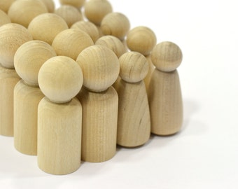10-Sets (20 pieces) Father and Daughter Wood Peg Doll Set-Solid Hardwood Natural Unfinished High Quality Turnings-Ready for Paint