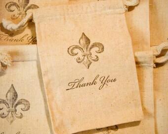 Fleur De Lis Thank You Favor Bag - Vintage Style Hand Stamped (10) 4x6 muslin drawstring bags