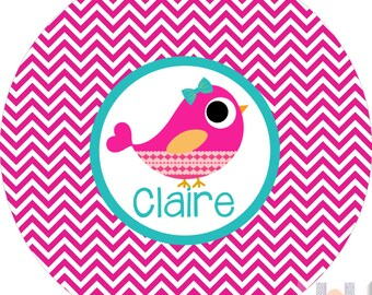 Monogram girls bird chevron pink monogram plate! A custom, fun and UNIQUE gift idea! Kids love eating on plates with their names on them!