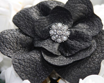 Black leather flower corsage pin with sparkling diamante centre large leather flower corsage brooch handmade leather brooch by Ruby62 UK
