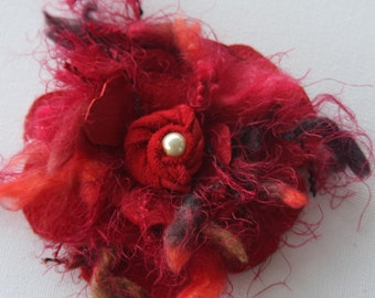 Red corsage, quirky lagenlook red leather & wool pin, handmade red flower, red flower brooch, shabby look corsage, pearl centre Ruby62