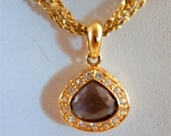 "Vintage Nolan Miller Amethyst Crystal Rhinestones Pendant Necklace Gold Tone 20"""
