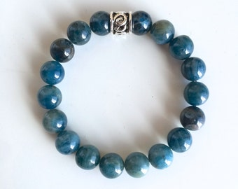 Genuine Apatite w/ a Sterling Silver Charm Bracelet ~ Stimulate Thoughts & Ideas ~ 10mm Stone