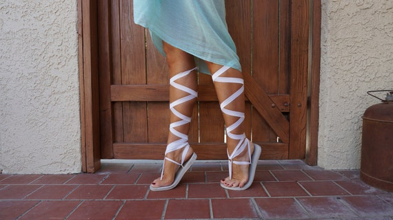 White Lace Sandals Knee High Lace up White