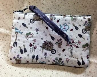 Garden Print Fabric Bag, Small Handmade Zipper Pouch, Spring Celebration Coin Purse Gardener Gift