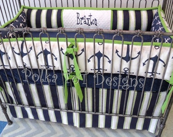 Navy & Lime Nautical Crib Set: Braxton