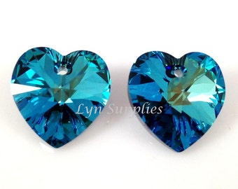 6228 BERMUDA BLUE 14.4x14mm Swarovski Crystal Heart 2 pieces or 8 pieces