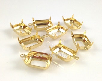 10pcs 24K Gold Plated Octagon Settings 14x10mm OPEN BACK with 1 Loop Prong Frame
