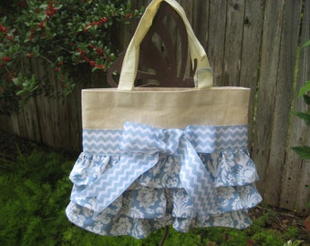 Blue Ruffle Tote Bag