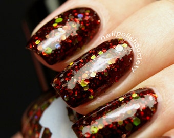 Red Death - 15 ml - rusty black jelly polish with red, silver, green and yellow glitter and red shimmer - indie polish by ALIQUID Lacquer