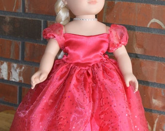 "Salmon Sparkly Princess Doll Gown for 18"" doll like American Girl"