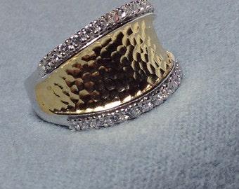 Sterling Silver -18 K Vermeil Hammered Ring - CZ Detailing Sides - Silver Statement Ring
