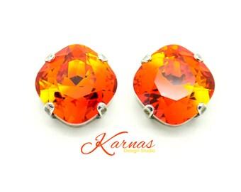 FIRE OPAL 12MM Cushion Cut Stud or Drop Earrings Swarovski Elements *Pick Your Finish *Karnas Design Studio *Free Shipping*
