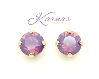 CYCLAMEN OPAL 8mm Crystal Chaton Stud or Post Earrings Swarovski Elements *Pick Your Finish *Karnas Design Studio *Free Shipping*