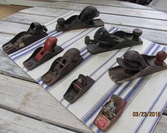 Sale ~  Vintage Lot of 8 Primitive Metal Wood Planes Stanley #120 Stanley USA Assortment Sizes