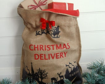 MONET + SOX Hessian Christmas Delivery Sack in Black Print with Blackboard Tag