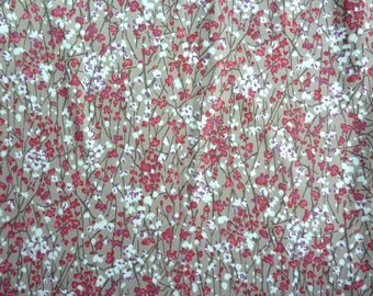 """Flowers and Branches Polyester Satin Blend Fabric.  62"""" wide and Sold by the yard"""