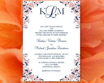 """Coral & Navy Wedding Invitations """"Kaitlyn"""" Printable Template Make Your Own Invitations All Colors Av Instant D. Word.doc DIY U Print"""