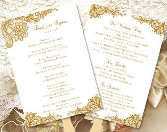 wedding program template vintage gold 8 5 x 11