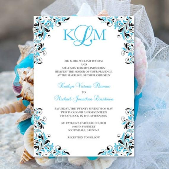 malibu blue  u0026 black wedding invitation kaitlyn