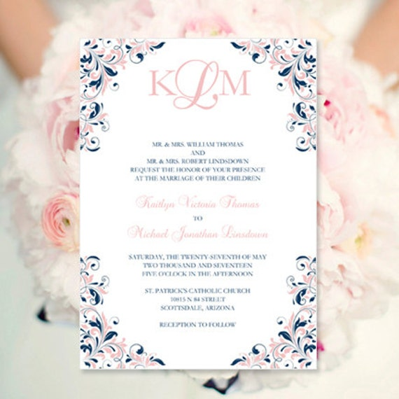 Blush Pink & Navy Wedding Invitation Kaitlyn