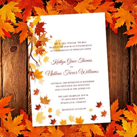 Printable Wedding Invitation Template Falling By WeddingTemplates