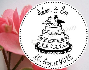 """Personalized wedding stamp """"wedding cake"""", rubber stamp, wedding invitation DIY, custom wedding stamp, save the date, 821"""