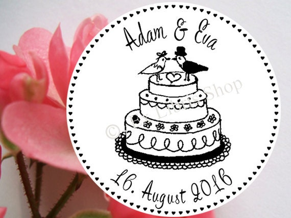 Personalized Wedding Stamp Wedding Cake Rubber Stamp Wedding