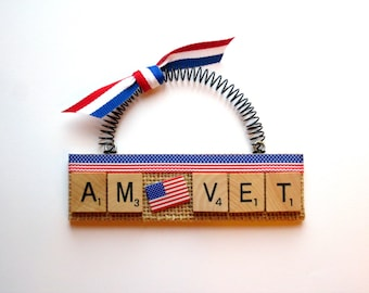 American Veteran Scrabble Tile Ornaments