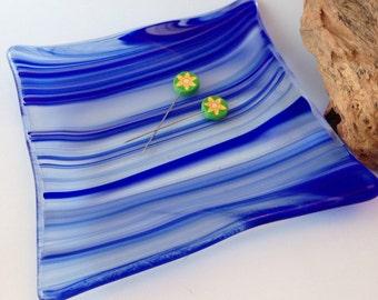 Fused glass blue wavy dish